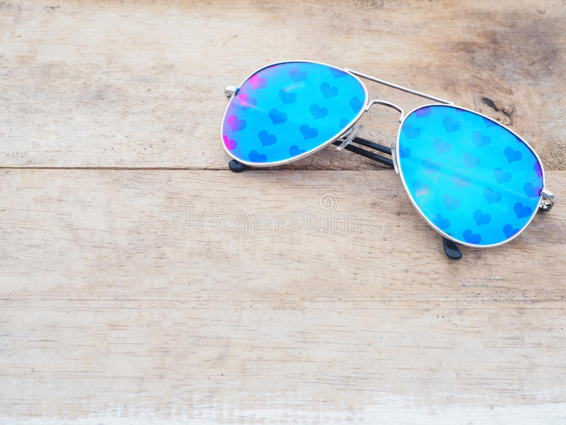 Mirror sunglasses with heart shape pattern stock photos