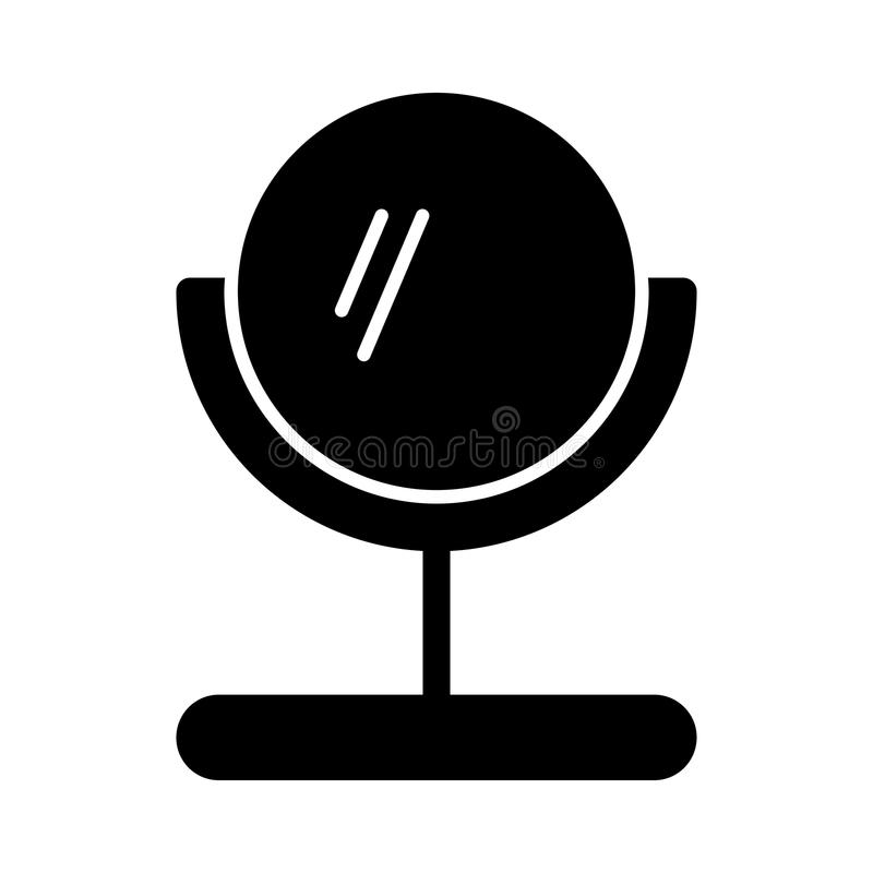 Mirror vector icon. Black and white table make-up mirror illustration. Solid linear beauty icon. Eps 10 royalty free illustration