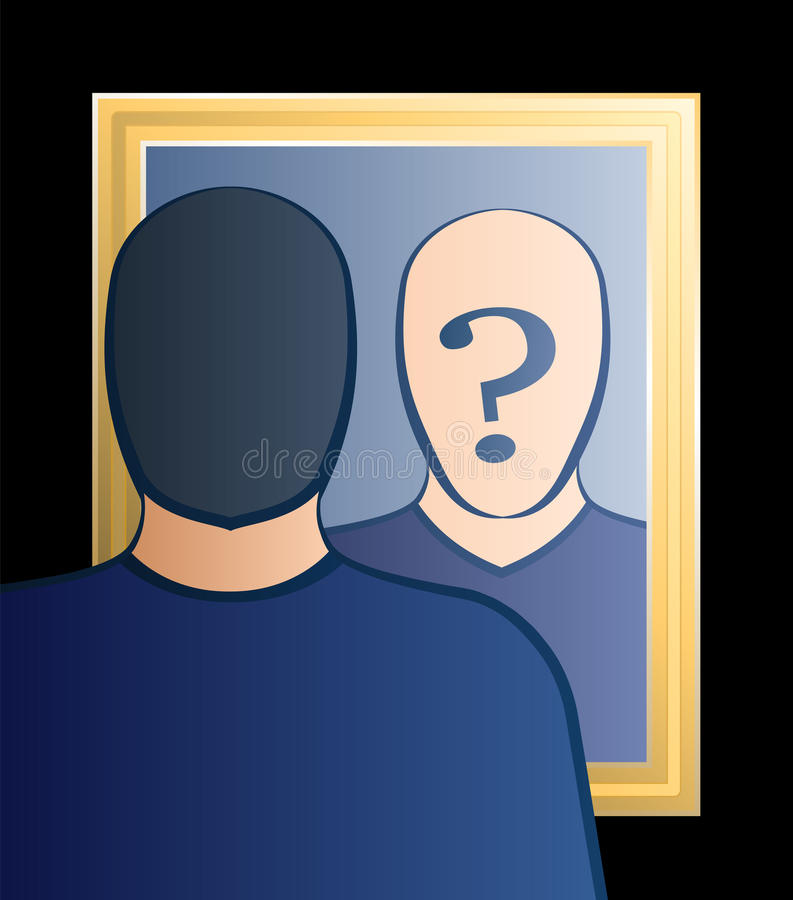 Mirror Who Am I Man. A man is looking into the mirror asking himself Who am I?. In his face there is a big question mark to bring ones consciousness into stock illustration