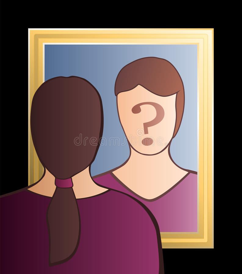Mirror Who Am I Woman. A woman is looking into the mirror asking herself Who am I?. In her face there is a big question mark to bring ones consciousness into vector illustration
