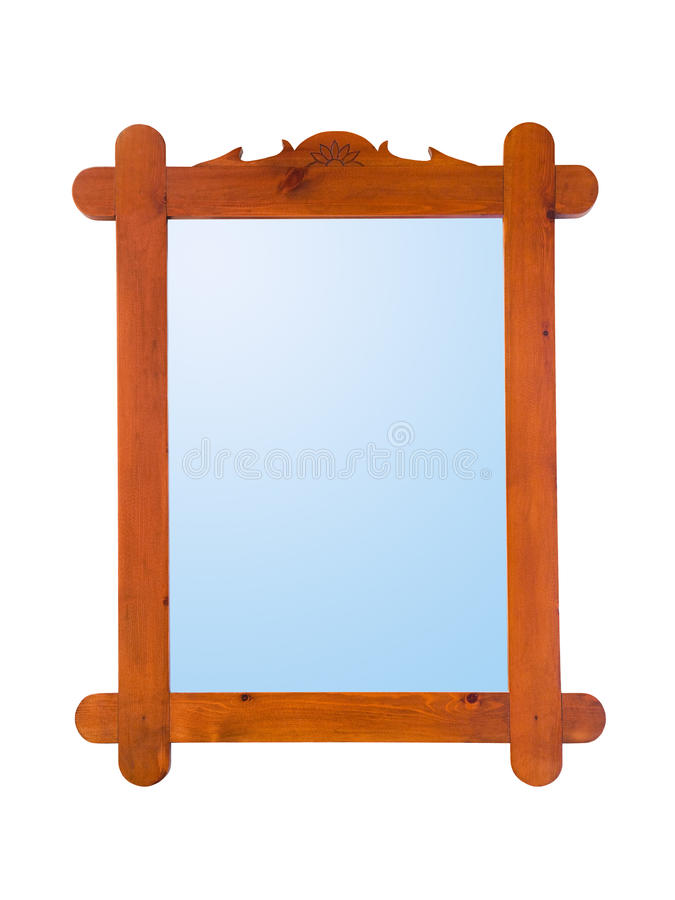 Mirror in wood frame. Isolated on white background royalty free stock photography