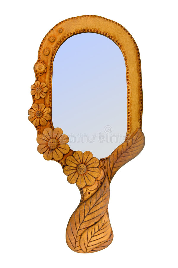 Mirror in wooden frame. Isolated on white (clipping path royalty free stock photography