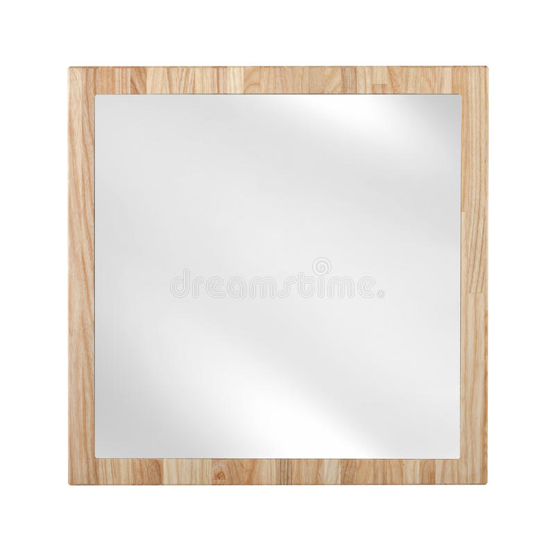 Mirror in wooden oak frame - isolated. On white royalty free stock images