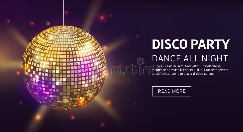 迪斯科横幅 Mirrorball党迪斯科球请帖庆祝时尚集会的海报模板舞蹈俱乐部 库存例证