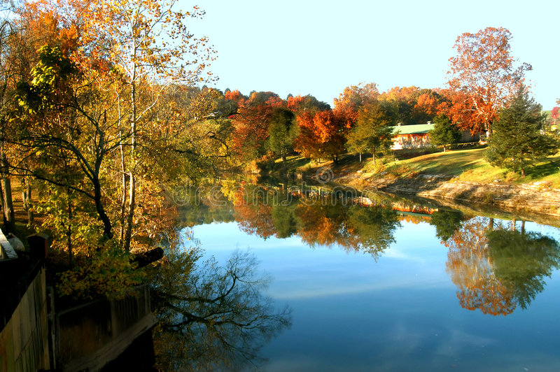 Mirrored Autumn stock images