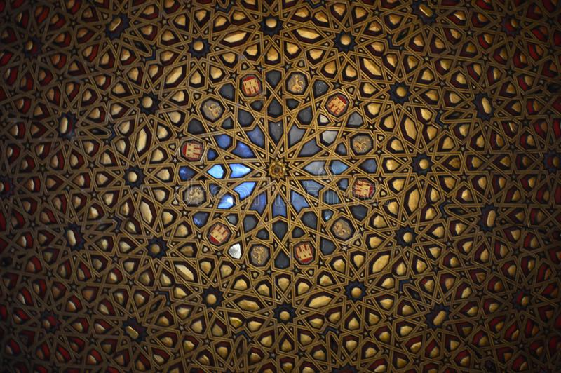 Seville - Mirrored ceiling, Hall of Ambassadors at the Royal Alcazar royalty free stock photography