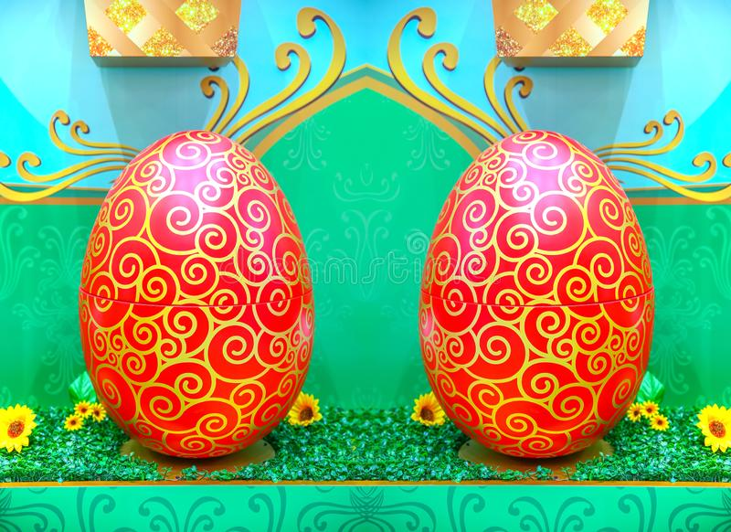 Mirrored colorful ester eggs background royalty free stock image