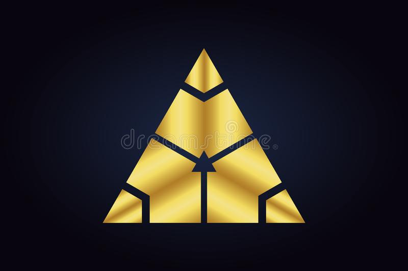 Mirrored geometric shapes in silver and gold colors. royalty free illustration