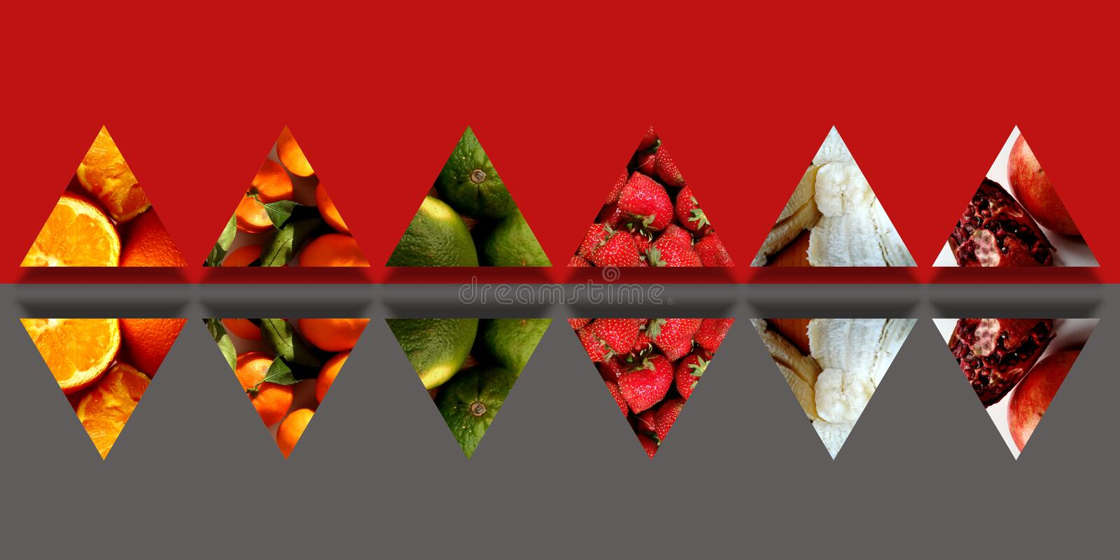 Mirrored triangles full of organic fruits royalty free illustration