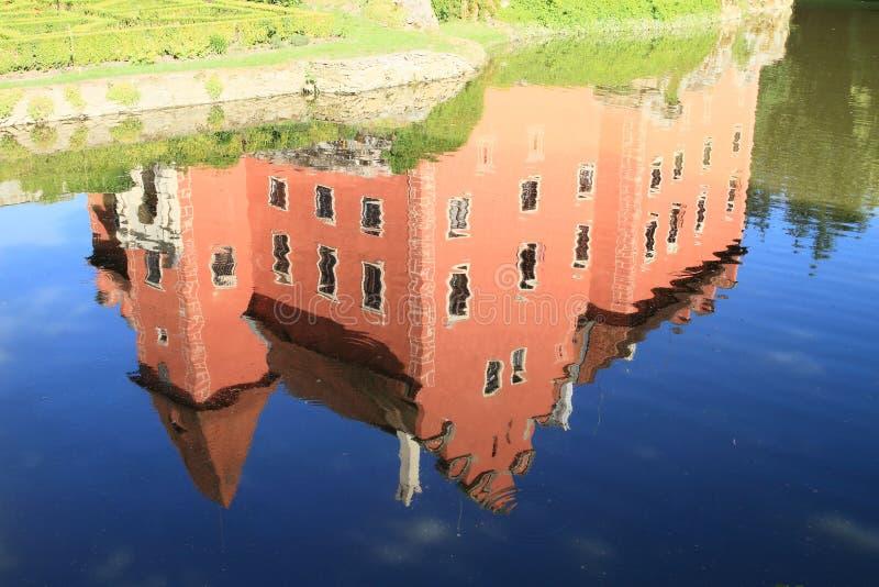 Mirroring of Castle Cervena Lhota stock images