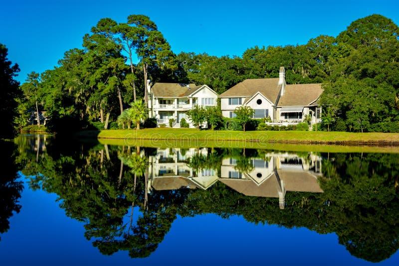 Mirroring lake stock photo