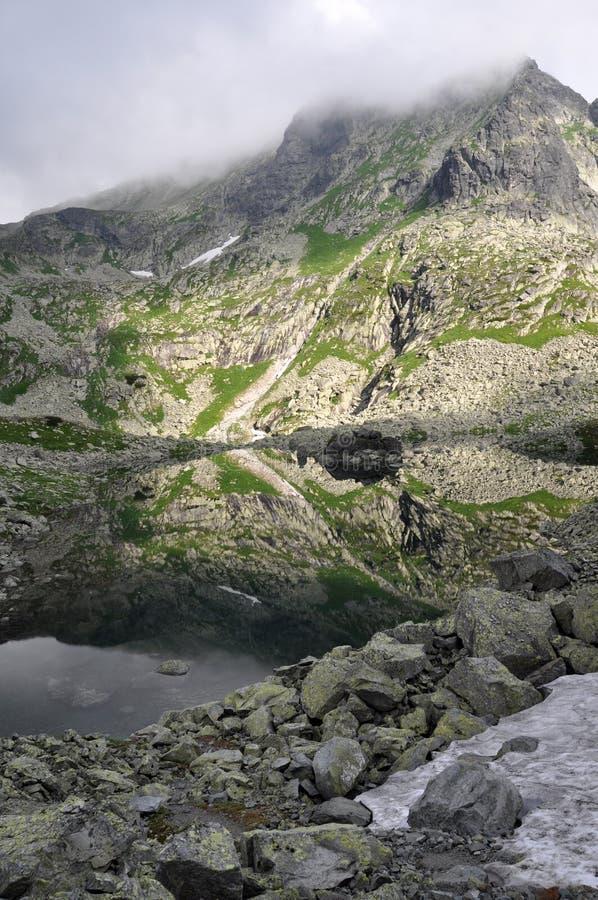 Mirroring lake in Vysoke Tatry, Slovensko High Tatras, Slovakia royalty free stock photo