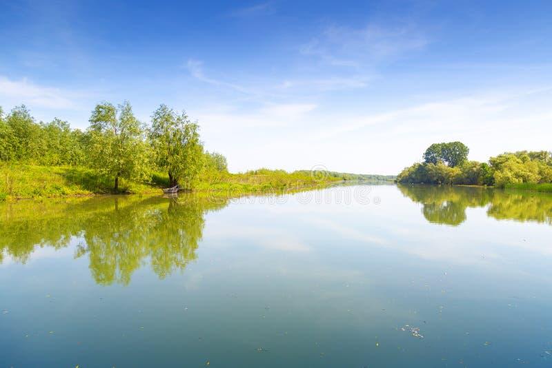 Mirroring landscape in Danube Delta, Romania stock image