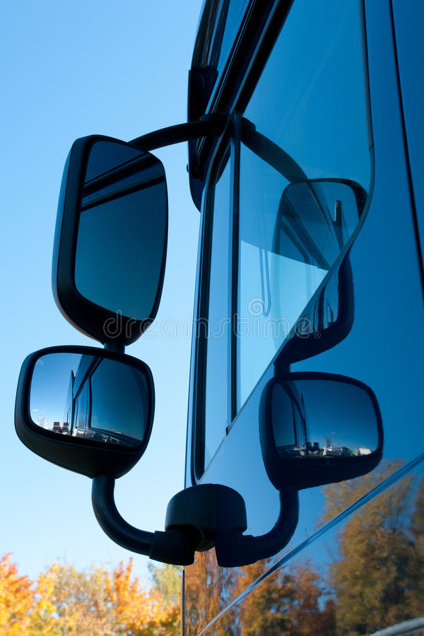Mirrors. Double Mirrors of Modern Heavy Truck stock photography
