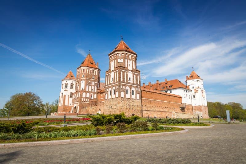 Mirskij城堡在城市Mir 库存图片