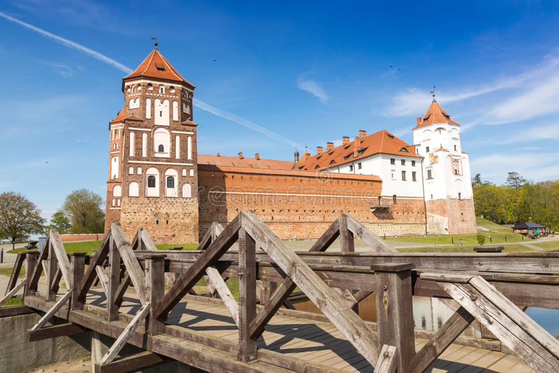Mirskij城堡在城市Mir 库存照片