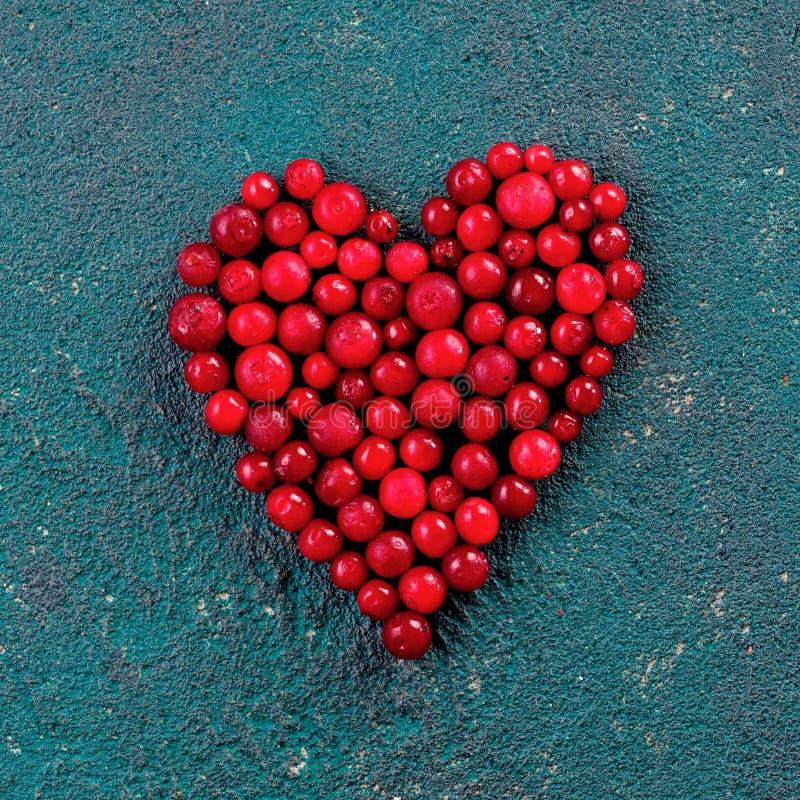 Mirtillo rosso nella forma del cuore su fondo verde fotografia stock libera da diritti
