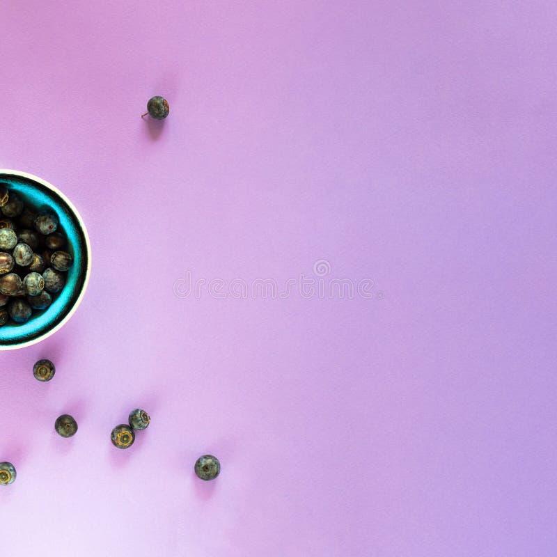 Mirtilos orgânicos frescos na bacia azul brilhante, nas algumas bagas ao redor na luz vazia - fundo violeta para o espaço da cópi foto de stock