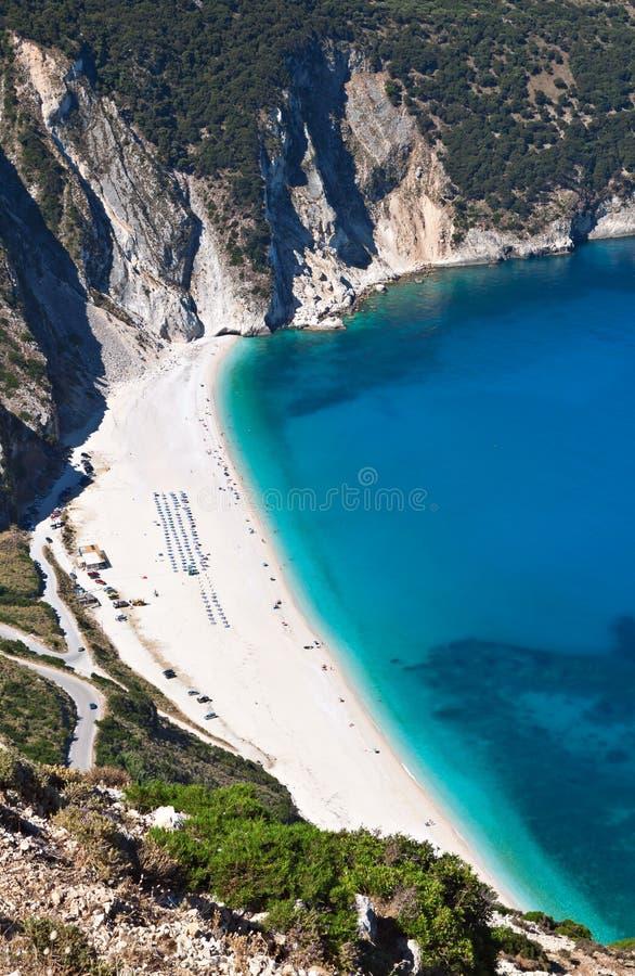 mirtos kefalonia острова пляжа стоковое изображение rf