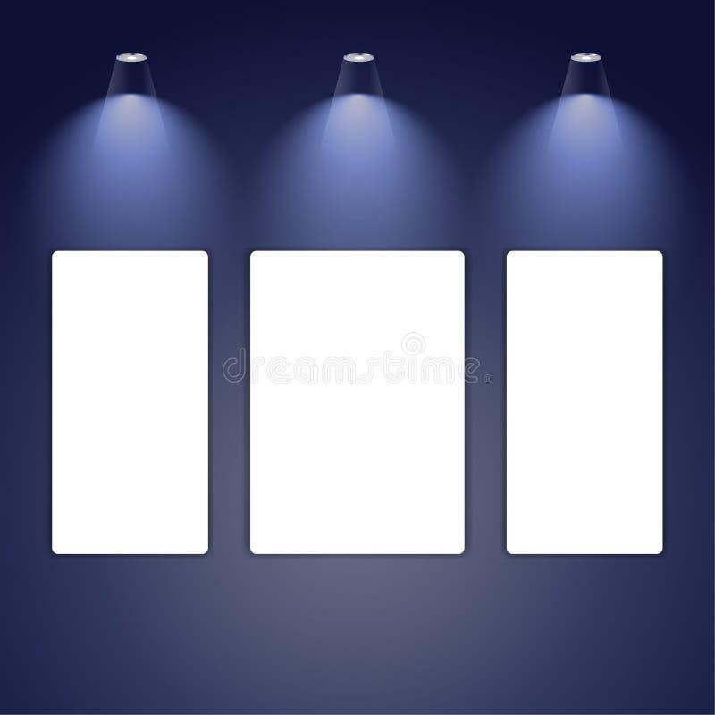 Lamp illumination of art gallery blue wall. stock illustration