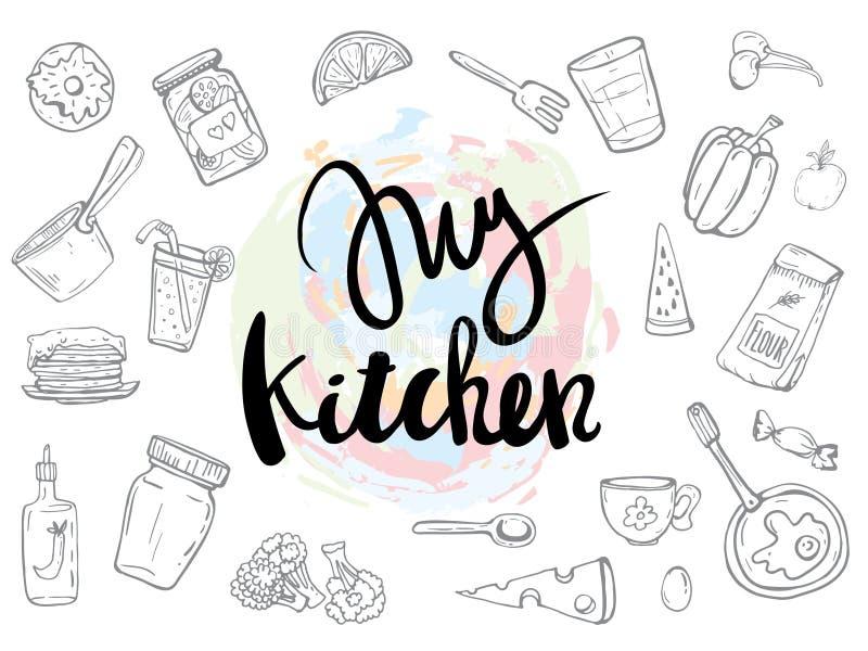 Mis citas relacionadas cocina fijaron el cartel ilustración del vector