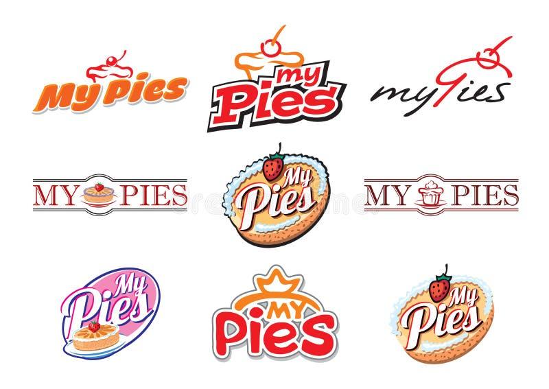 Mis empanadas Un sistema de emblemas en diversos estilos stock de ilustración