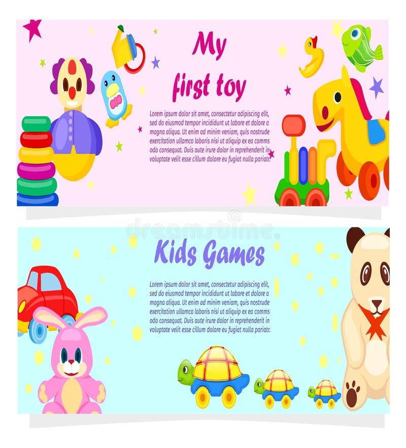 Mis primeros carteles de los juegos del juguete y de los niños con el texto libre illustration