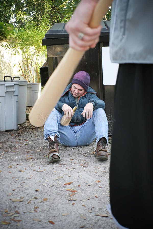 Misbruik van Daklozen stock foto