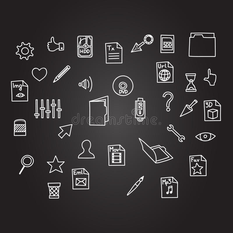 Misc file and cursor computer technology icon business set in sketch hand drawing black board style vector illustration
