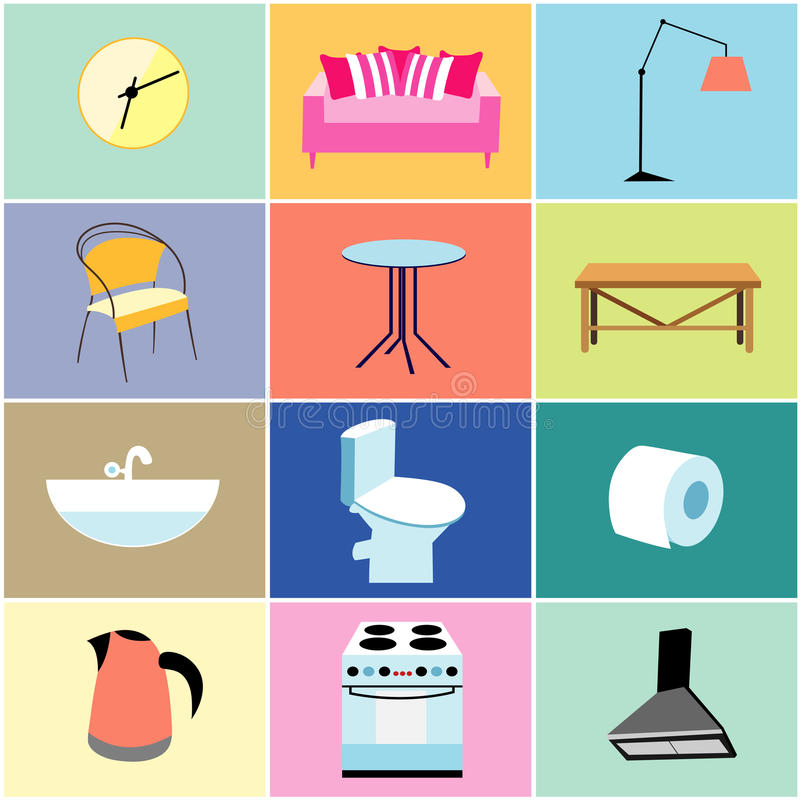 Misc Furniture And Household Items Stock Vector ...