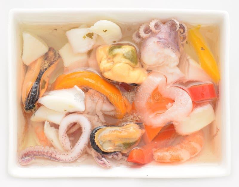 Miscela dei molluschi e del seafruit in olio fotografie stock