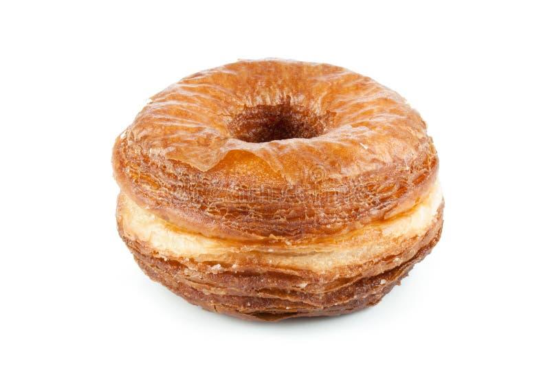 Miscela della ciambella e del croissant isolata su bianco fotografia stock libera da diritti