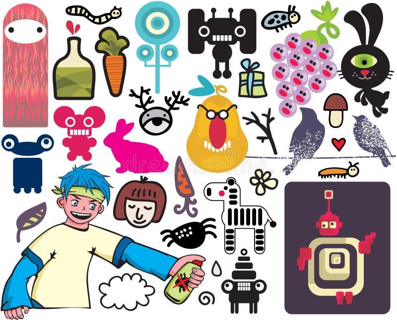 Miscela delle immagini e delle icone differenti. vol.20 illustrazione vettoriale