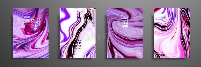Miscela delle pitture acriliche materiale illustrativo moderno Progettazione d'avanguardia Verniciatura di marmo di effetto Proge illustrazione vettoriale