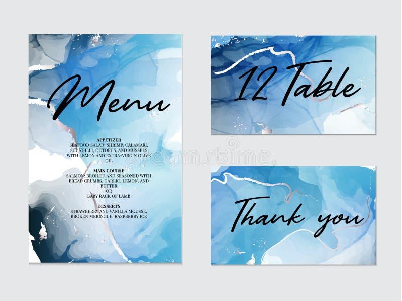 Miscela delle pitture acriliche per la decorazione di nozze, meny, tavola, grazie carta Struttura di marmo liquida Arte fluida illustrazione di stock