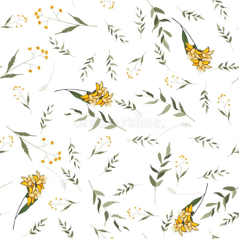 Miscela disegnata a mano floreale senza cuciture Illustrazione di vettore Modello della Boemia del giglio dei fiori illustrazione vettoriale