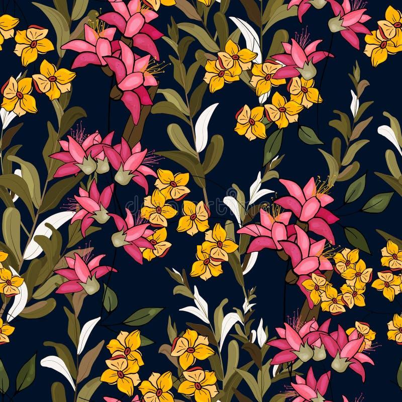 Miscela disegnata a mano floreale senza cuciture Illustrazione di vettore Modello di fiori della Boemia illustrazione di stock