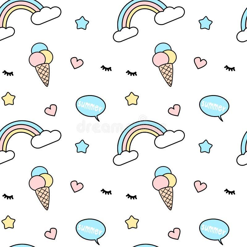 Miscela senza cuciture variopinta sveglia dell'illustrazione del fondo del modello con il bubbl dell'arcobaleno, del gelato, dei  illustrazione vettoriale