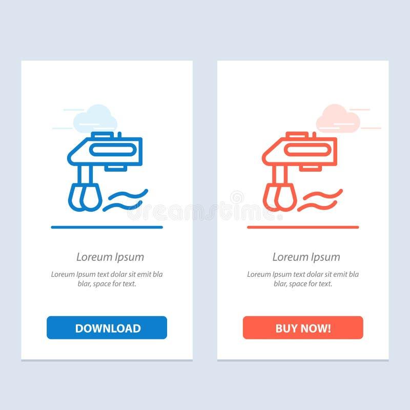 Miscelatore, cucina, manuale, blu del miscelatore e download rosso ed ora comprare il modello della carta del widget di web illustrazione di stock