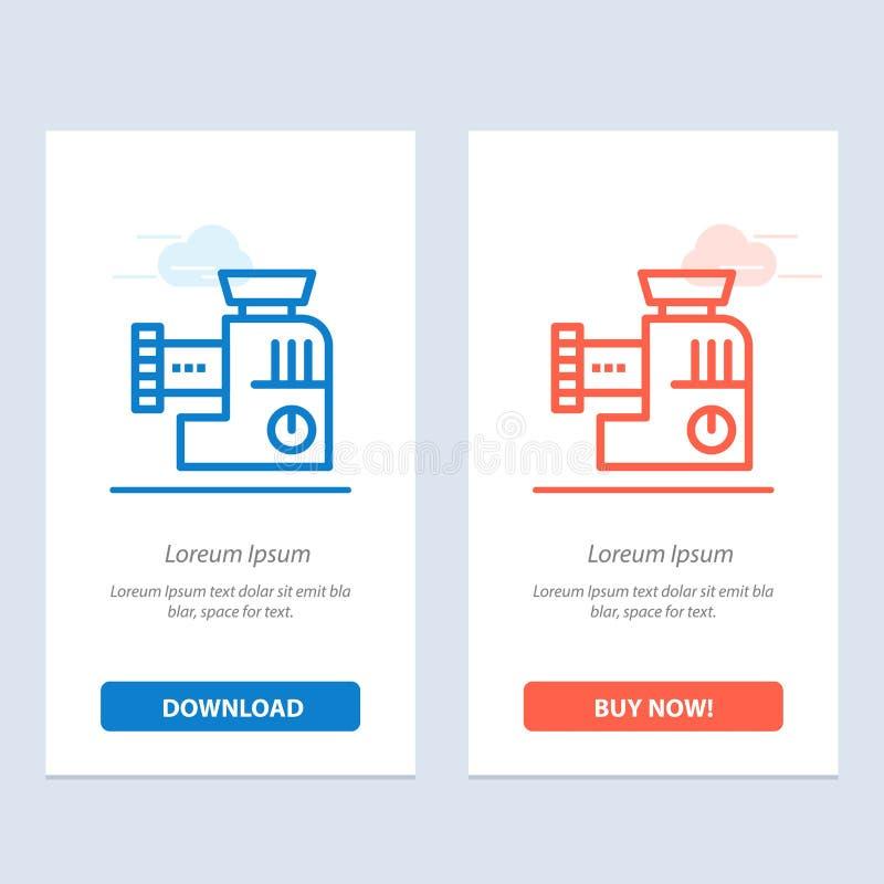 Miscelatore, cucina, manuale, blu della miscela e download rosso ed ora comprare il modello della carta del widget di web illustrazione vettoriale