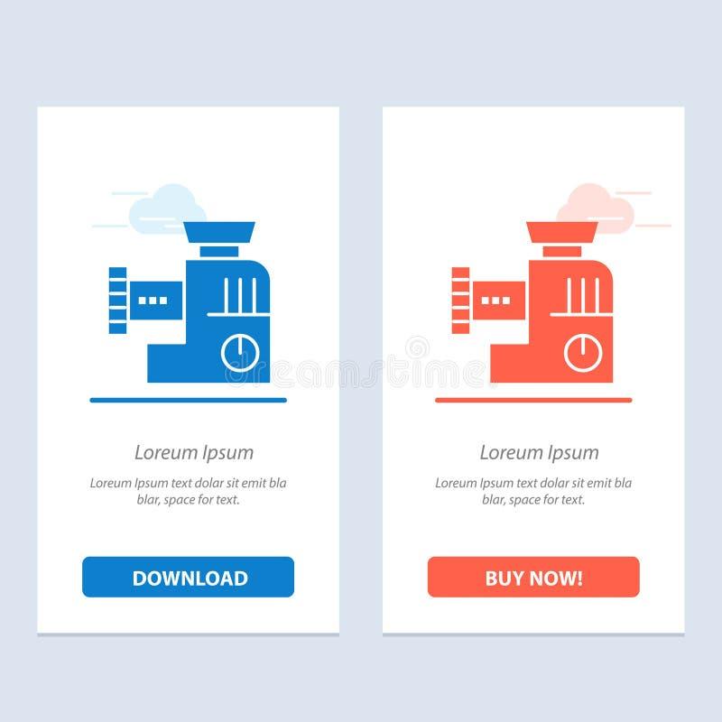 Miscelatore, cucina, manuale, blu della miscela e download rosso ed ora comprare il modello della carta del widget di web royalty illustrazione gratis
