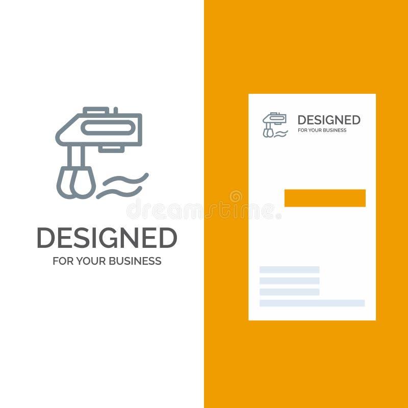 Miscelatore, cucina, manuale, miscelatore Grey Logo Design e modello del biglietto da visita illustrazione vettoriale