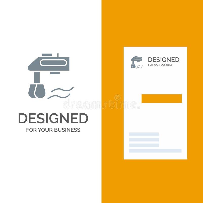 Miscelatore, cucina, manuale, miscelatore Grey Logo Design e modello del biglietto da visita royalty illustrazione gratis