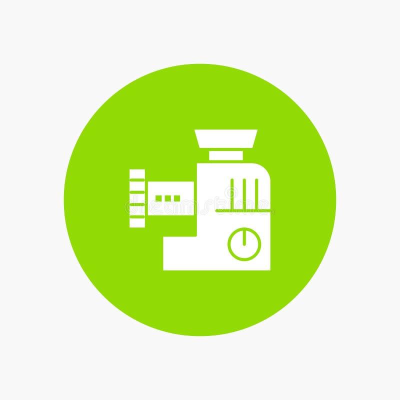 Miscelatore, cucina, manuale, icona bianca di glifo della miscela illustrazione di stock