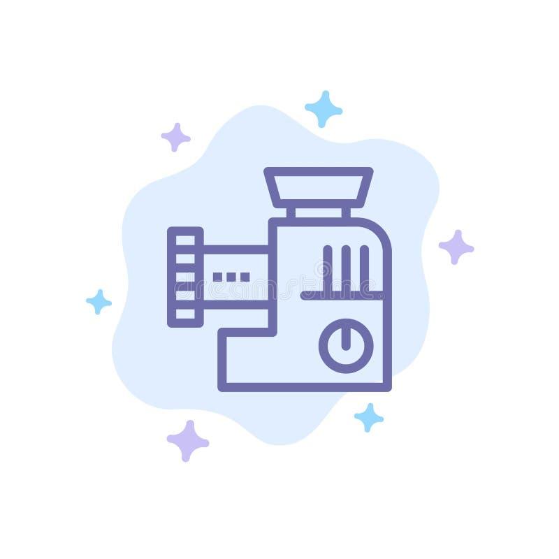 Miscelatore, cucina, manuale, icona blu della miscela sul fondo astratto della nuvola illustrazione vettoriale