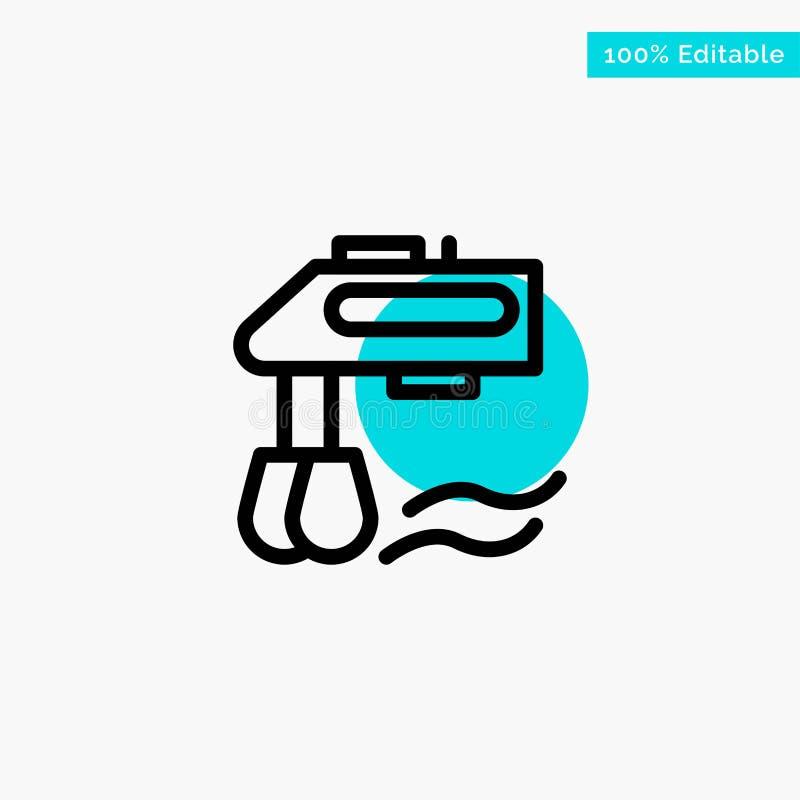 Miscelatore, cucina, manuale, icona di vettore del punto del cerchio di punto culminante del turchese del miscelatore illustrazione di stock