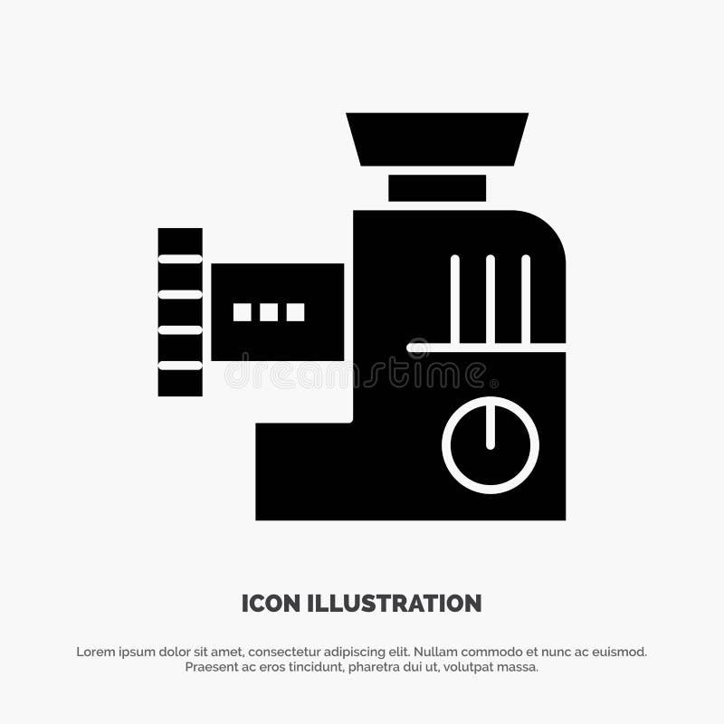 Miscelatore, cucina, manuale, icona nera solida di glifo della miscela illustrazione di stock
