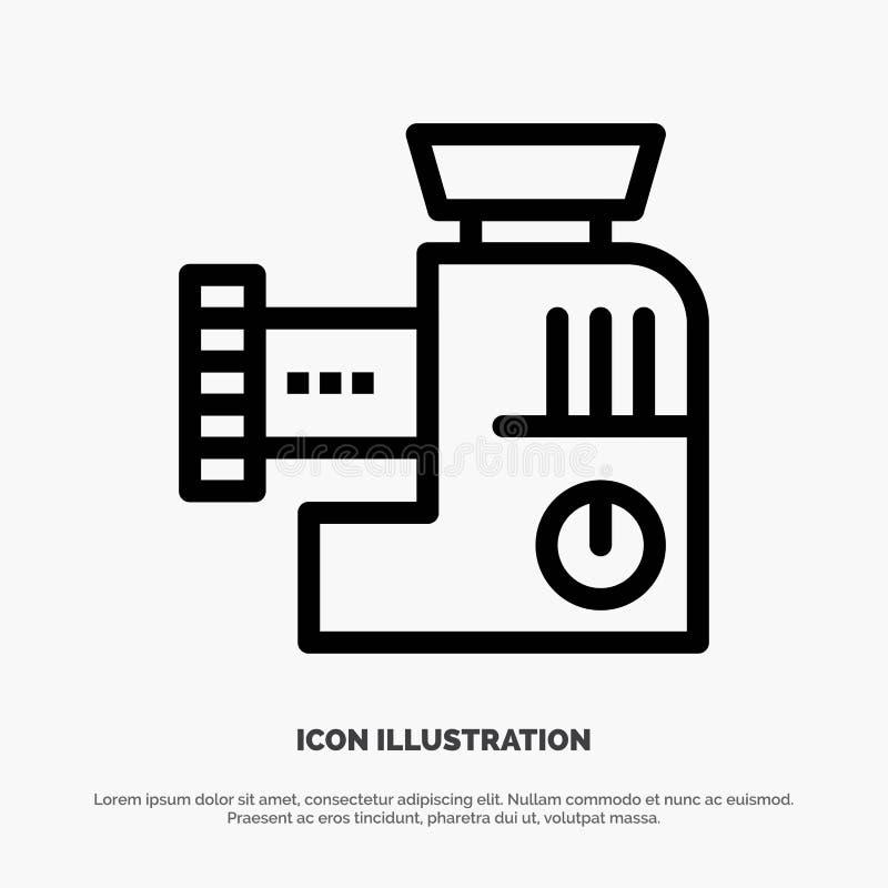 Miscelatore, cucina, manuale, linea icona di vettore della miscela illustrazione di stock