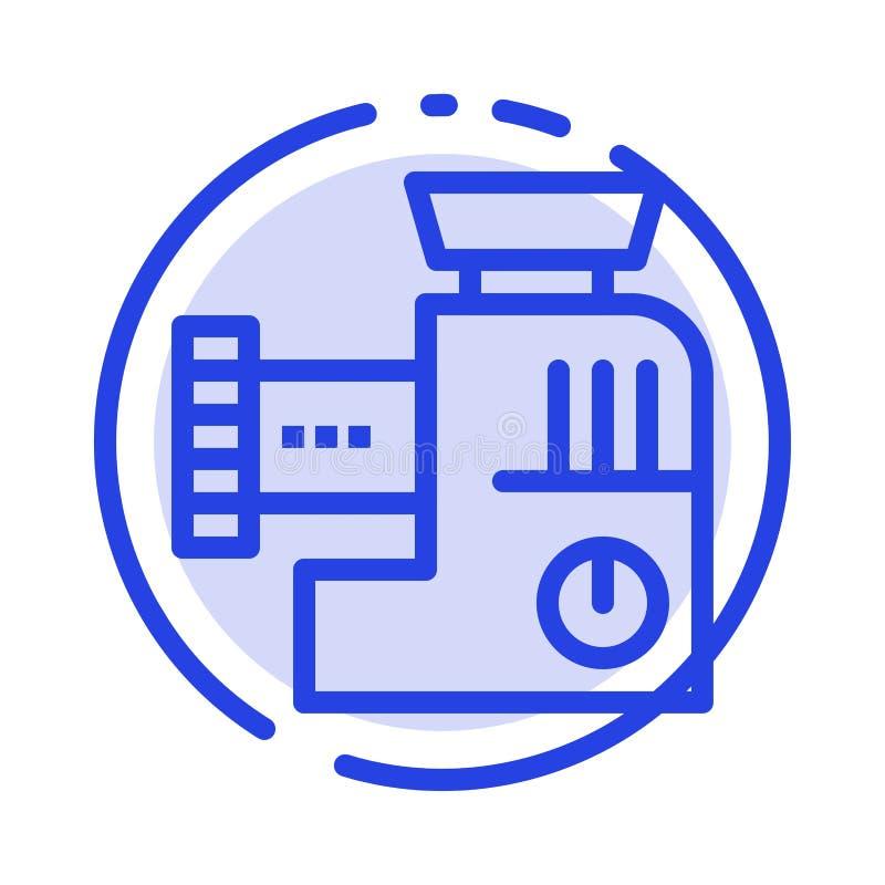 Miscelatore, cucina, manuale, linea punteggiata blu linea icona della miscela illustrazione di stock