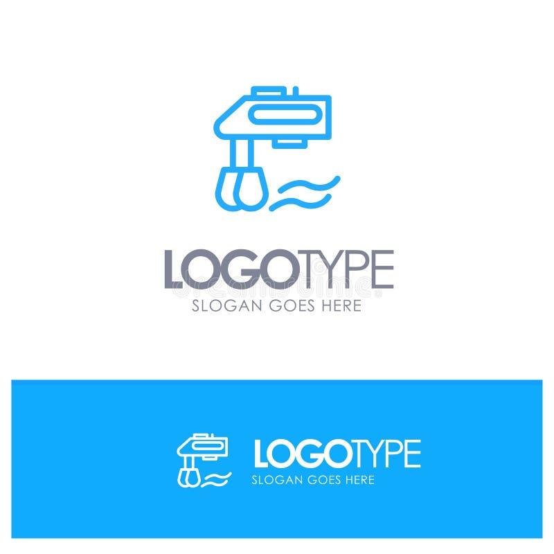 Miscelatore, cucina, manuale, miscelatore Logo Line Style blu royalty illustrazione gratis